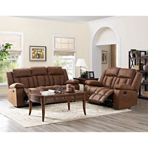 New Classic Rutherford 2PC Power Reclining Sofa Loveseat Set