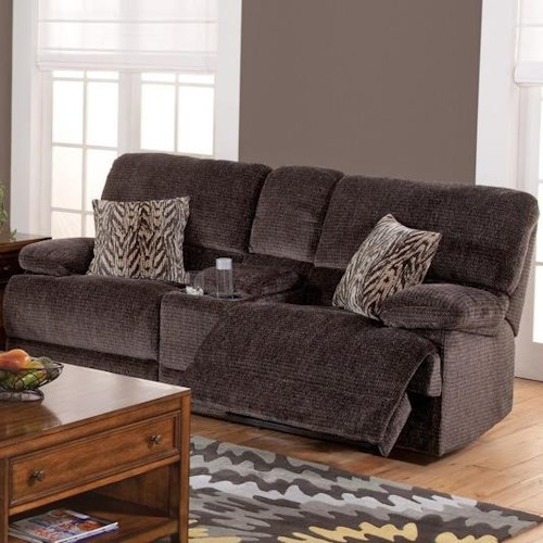 New Classic Idaho Casual Reclining Console Loveseat with Pillow Top Arms
