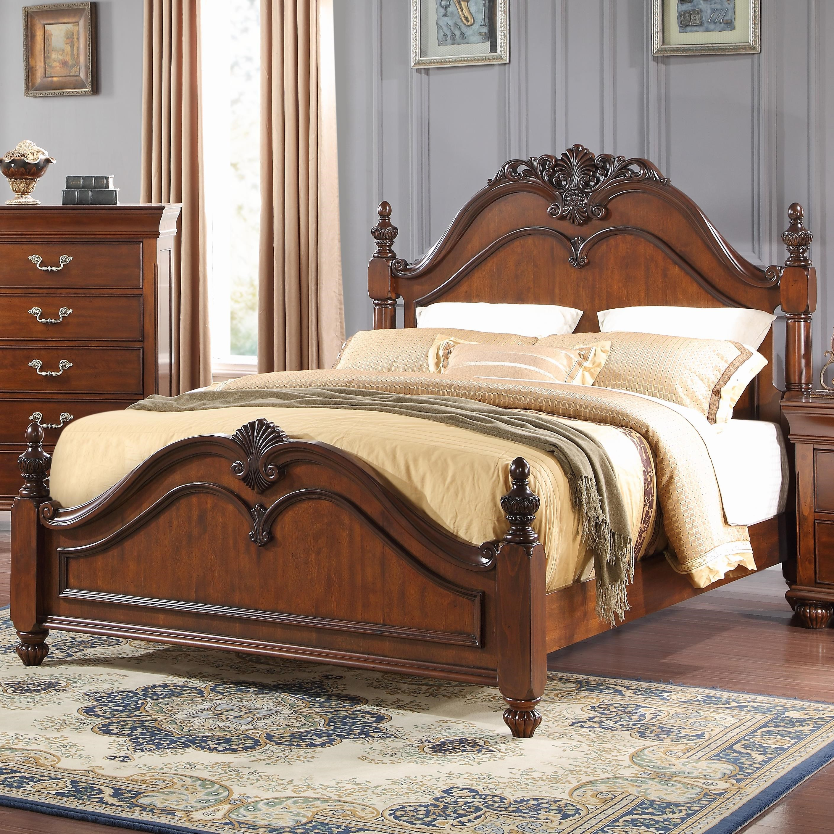 New Classic Burbank King Poster Bed With Carved Details