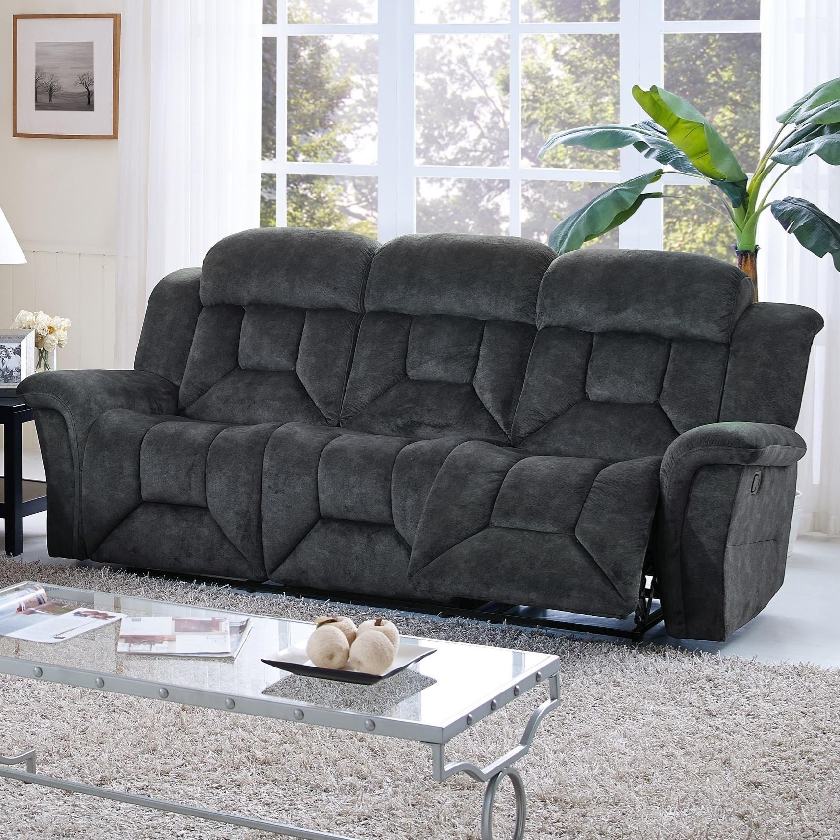 New Classic Jemma Casual Power Dual Recliner Sofa With Window Pane Tailoring