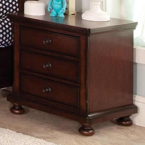 New Classic Jesse Three Drawer Youth Nightstand with Turned Feet