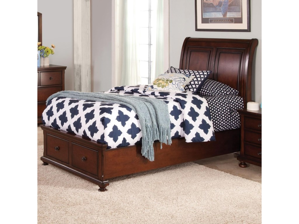 Full Low Profile Storage Bed with Sleigh Style Panel ...