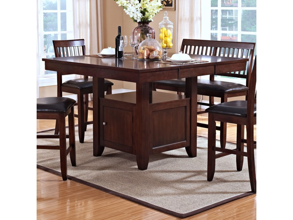 New Classic Kaylee Counter Height Table with Storage Pedestal Base ...