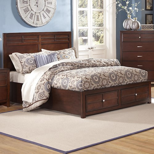 New Classic Kensington Queen Low-Profile Bed with Storage Footboard ...