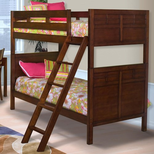 New Classic Kensington Twin/Full Bunk Bed with Panel Headboard and Footboard