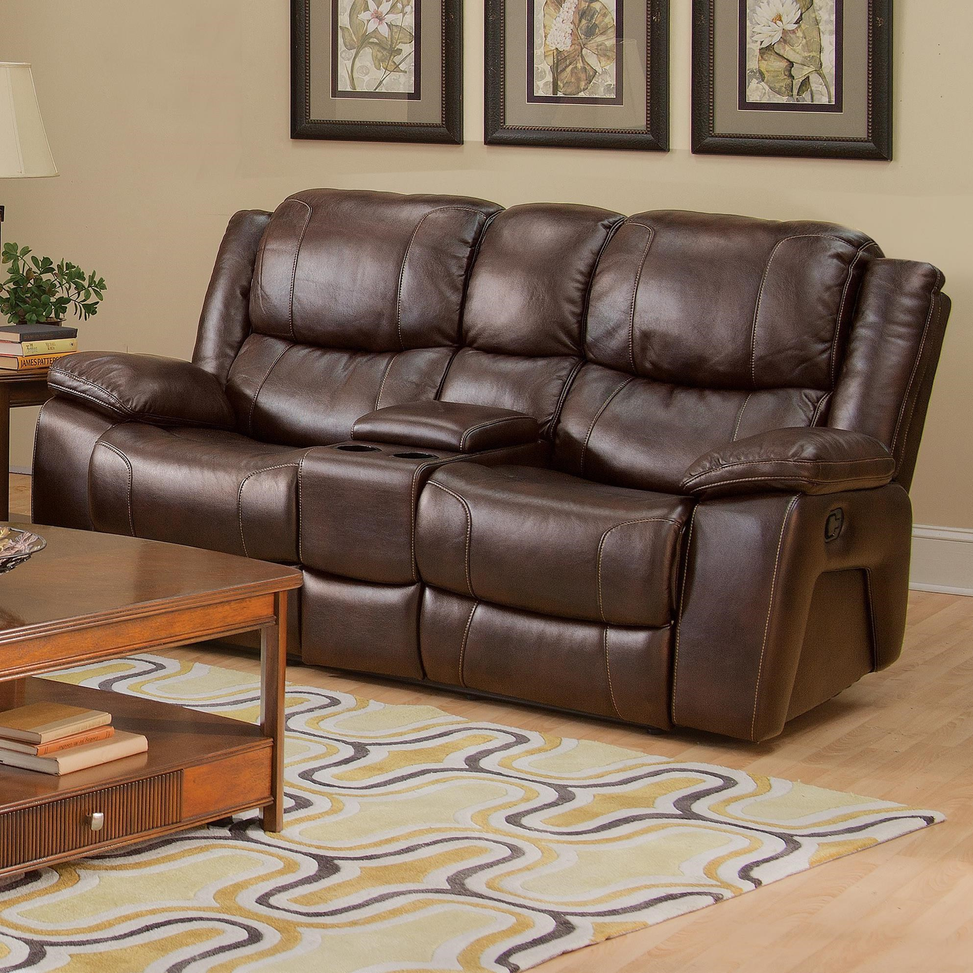 New Classic Brooke Casual Dual Recliner Console Loveseat With Cup Holders  And Storage Drawer