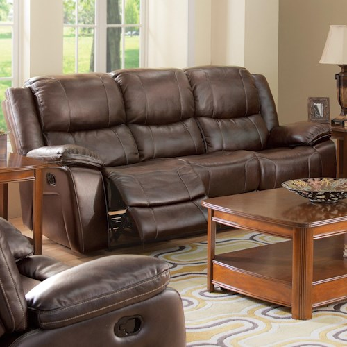 New Classic Brooke Casual Dual Recliner Sofa with Bustled Seat Back
