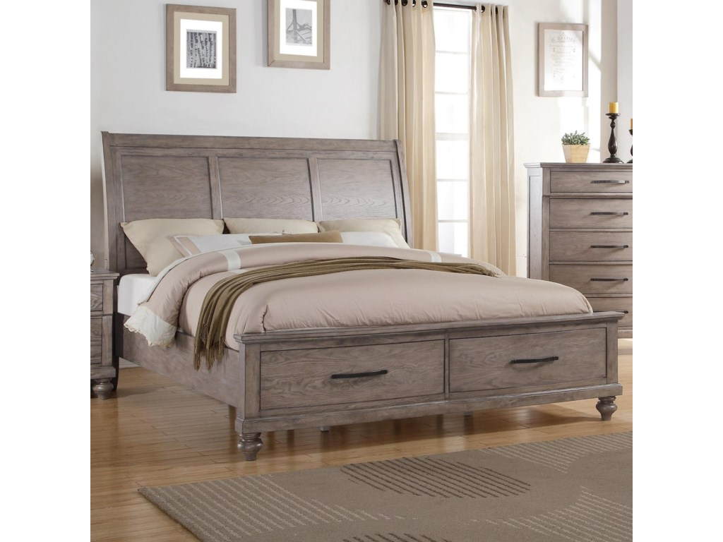 La jolla queen storage bed with panel headboard by new classic