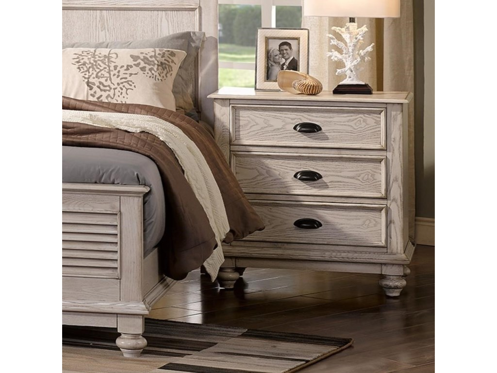 best service d84aa ada01 Lakeport White Driftwood Traditional Nightstand with Built-in USB Chargers  by New Classic at Wilcox Furniture