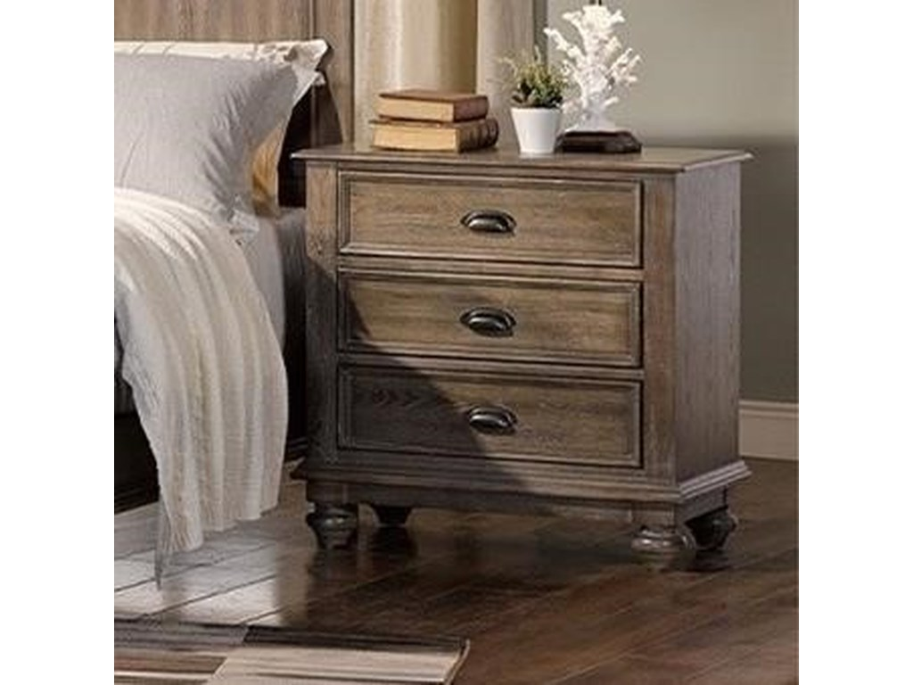 reputable site 3ef1a 1c07d Lakeport Pewter Traditional Nightstand with Built-in USB Chargers by New  Classic at Wilcox Furniture