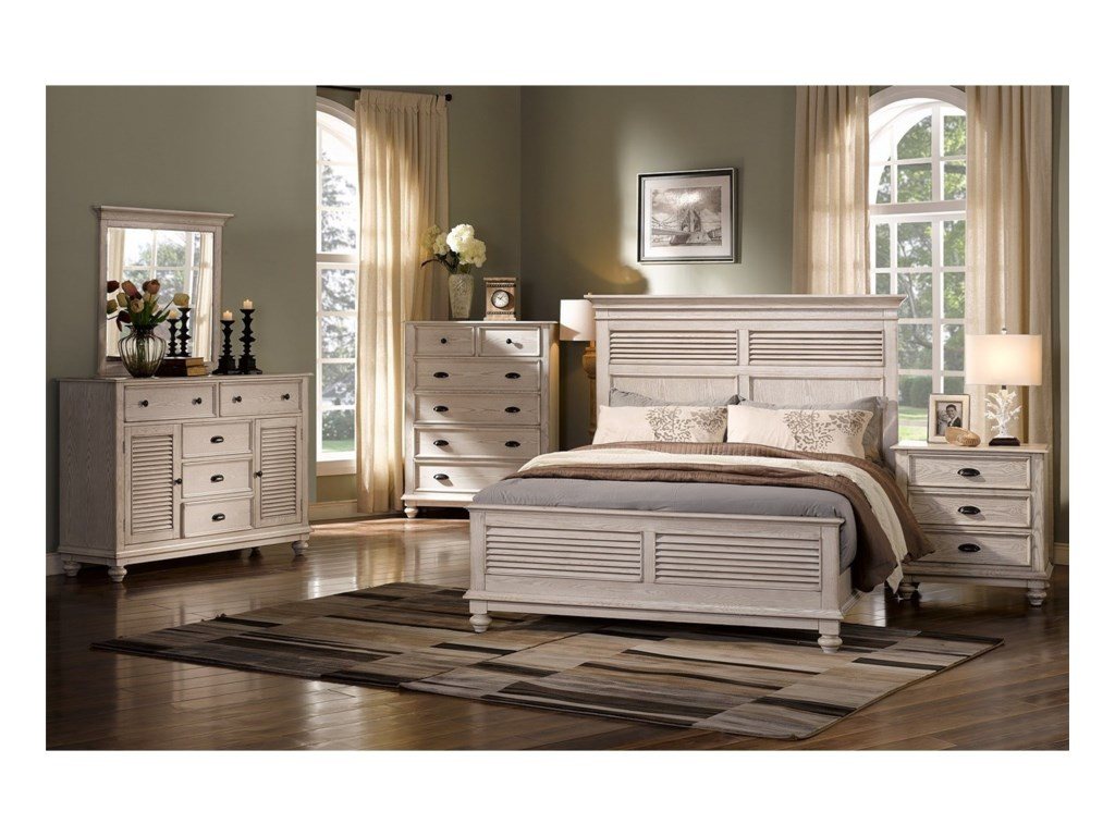 New Classic Lakeport White DriftwoodQueen Headboard and Footboard Bed