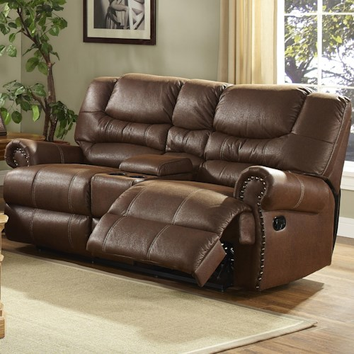 New Classic Laredo Traditional Duel Power Reclining Love Seat with Storage Console