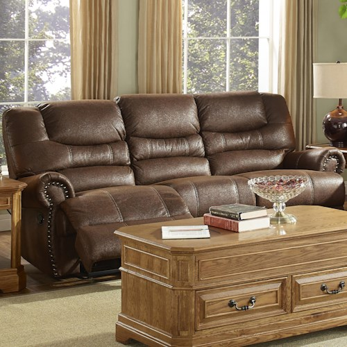 New Classic Laredo Traditional Dual Power Reclining Sofa with Rolled Arms