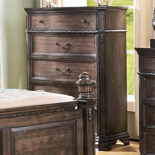 New Classic Larissa Five Drawer Chest with Felt Lined Top Drawer