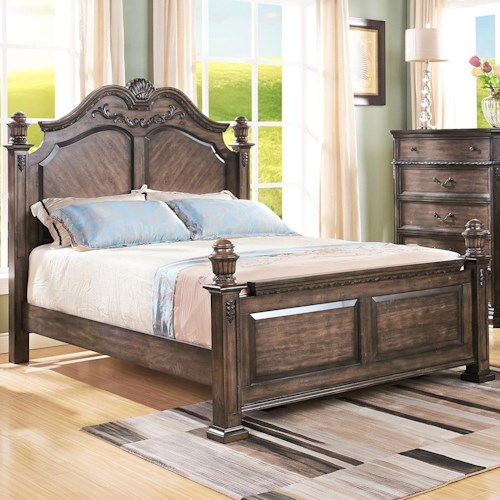 New Classic Larissa Queen Poster Bed with Arched Headboard and Carved Detailing