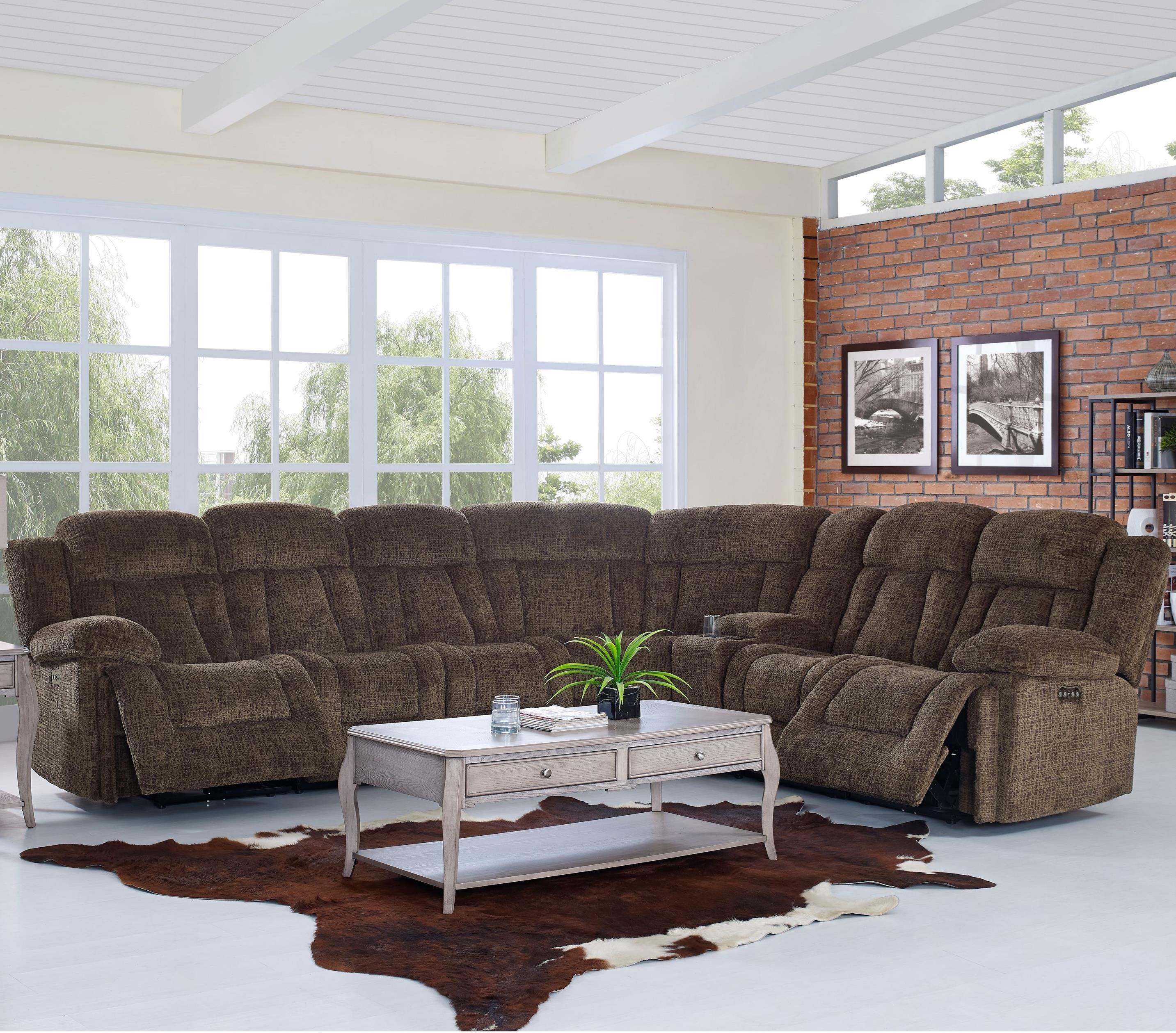 Laura Casual Power Reclining Sectional Sofa With Power Headrests By New  Classic