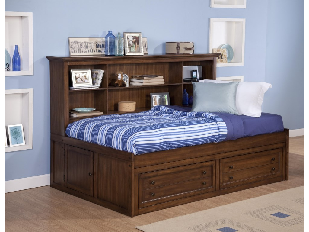 New Classic Logan Twin Size Storage Daybed With Bookcase Headboard
