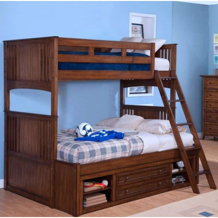 Twin over Twin-to-Full Bunk Bed with Storage
