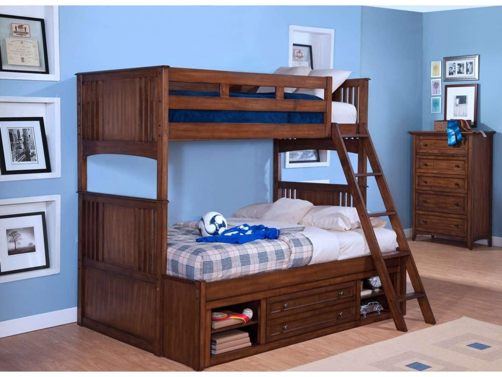 New Classic LoganTwin over Twin-to-Full Bunk Bed with Storage