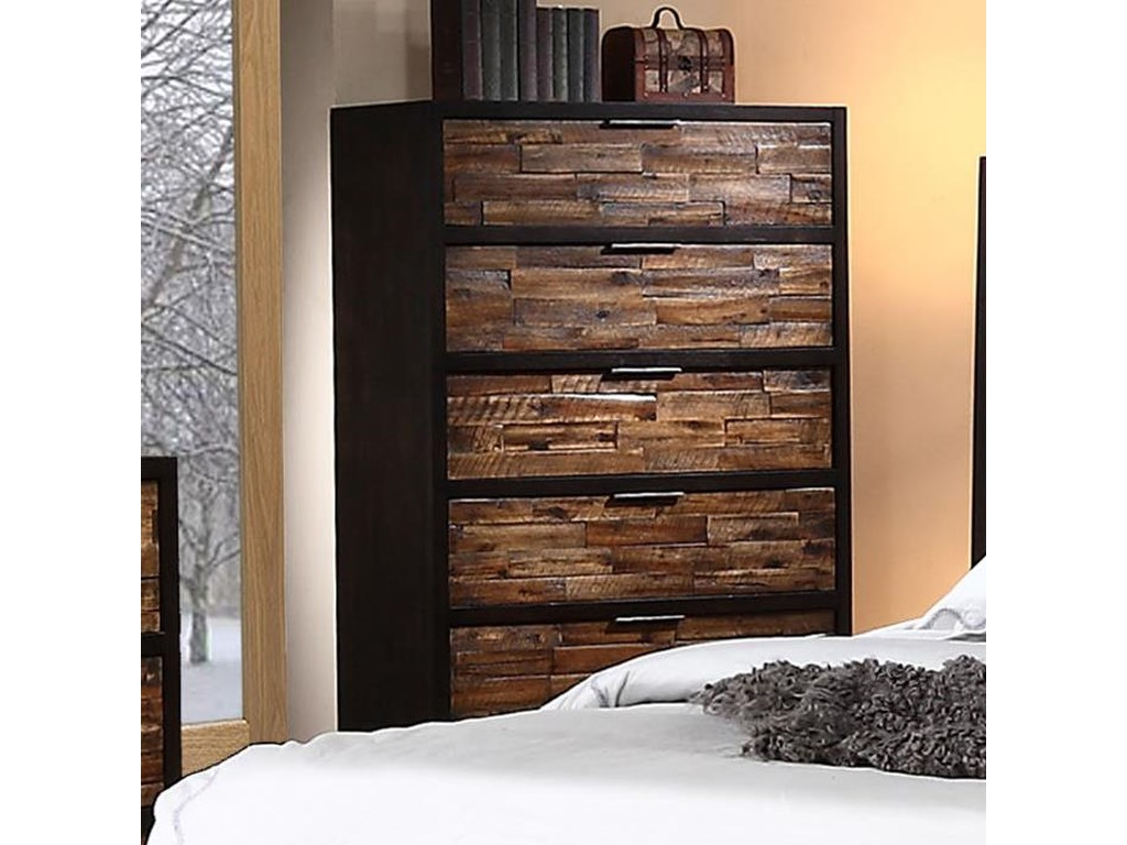New Classic Makeeda 5 Drawer Chest with Rustic Drawer Fronts ...