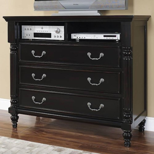 New Classic Martinique Bedroom Transitional 3 Drawer Media Chest