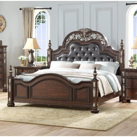 Queen Poster Bed with Upholstered Headboard
