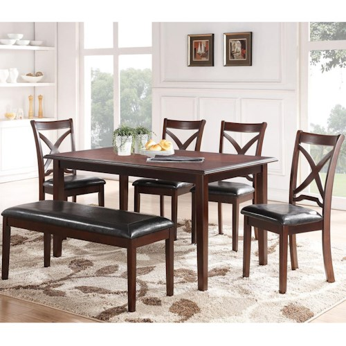 New Classic Milo Dining Table and Chair set with a Bench and Tapered Feet