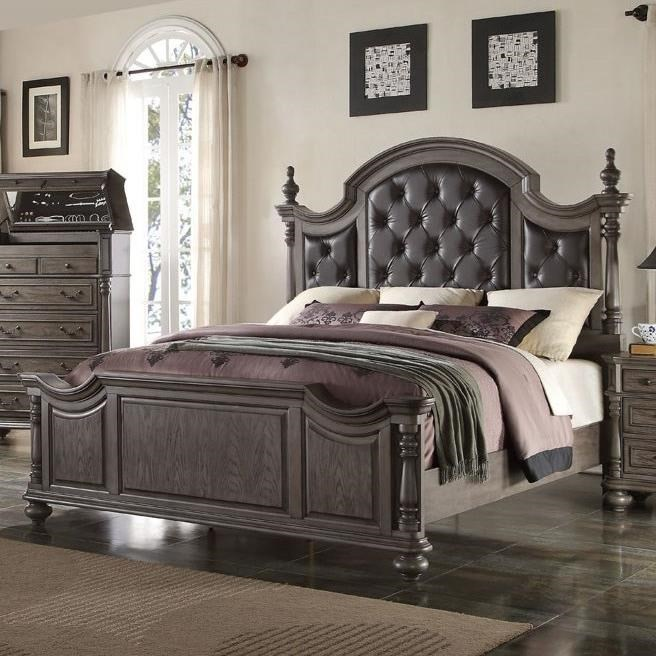 New Classic Monticello Traditional Queen Bed With Upholstered Headboard