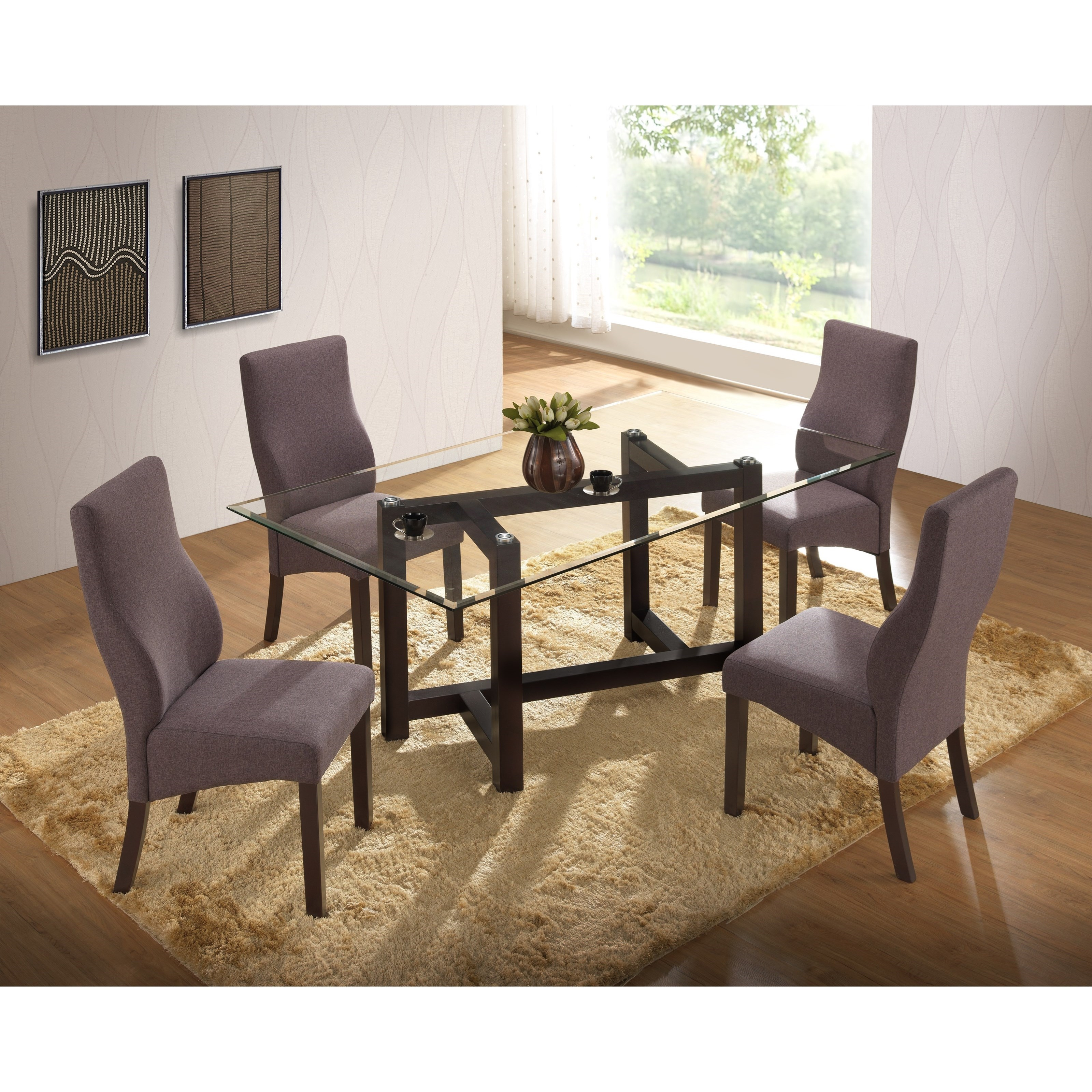 Natasha 5 Piece Glass Top Dining Table And Natasha Side Chair Set By New  Classic
