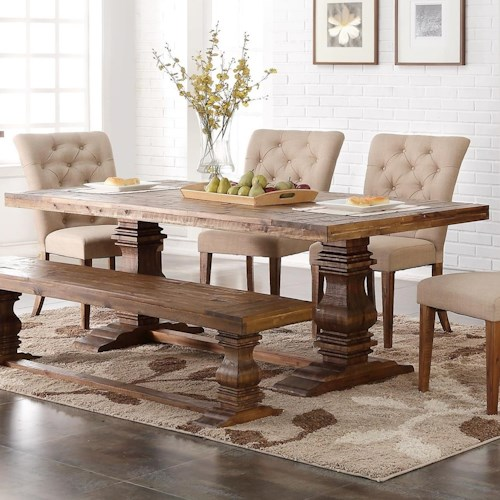 New Classic Normandy Dining Table with Double Pedestal Base