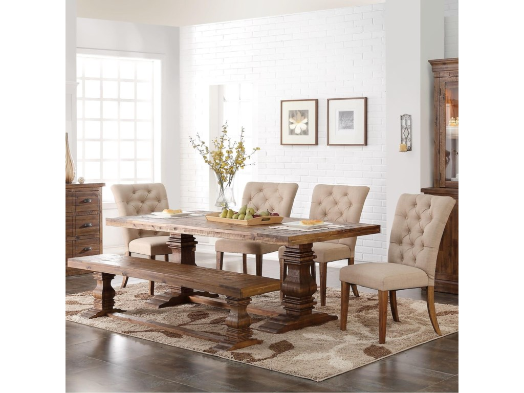 New Classic Normandy 6 Piece Double Pedestal Table and Upholstered ...