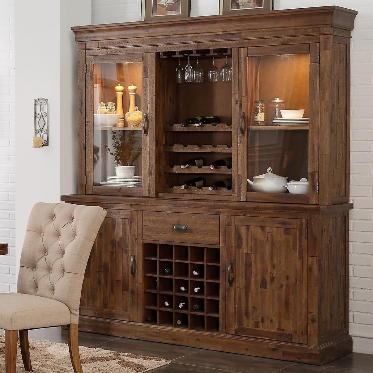 New Classic Normandy China Cabinet with Touch Lighting and Wine ...