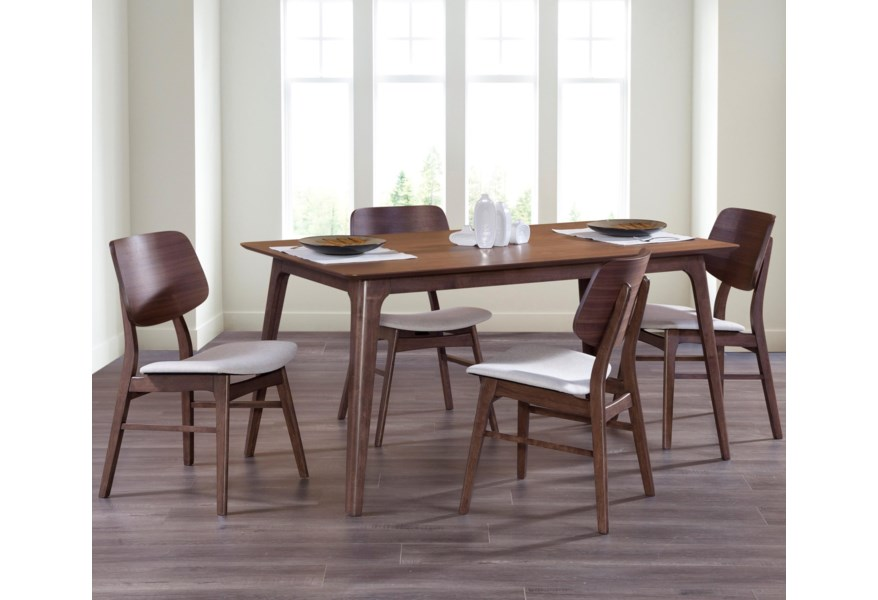 New Classic Oscar 5 Piece Mid Century Modern Dining Set With 60 Rectangle Table Beck S Furniture Dining 5 Piece Sets