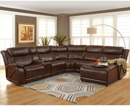New Classic Park Place Casual Sectional with Chaise and Storage Console