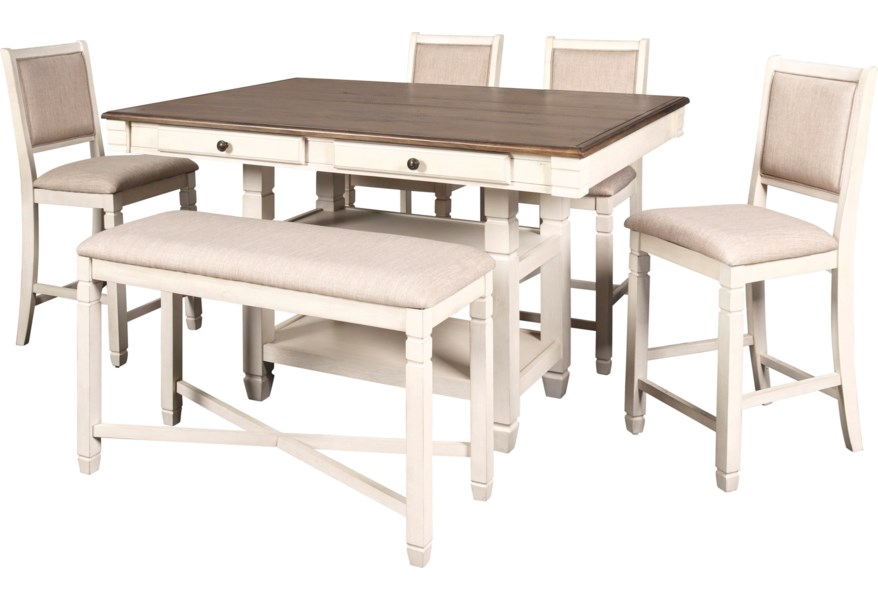 New Classic Prairie Point Farmhouse Table Chair Set With Bench Furniture Superstore Rochester Mn Table Chair Set With Bench