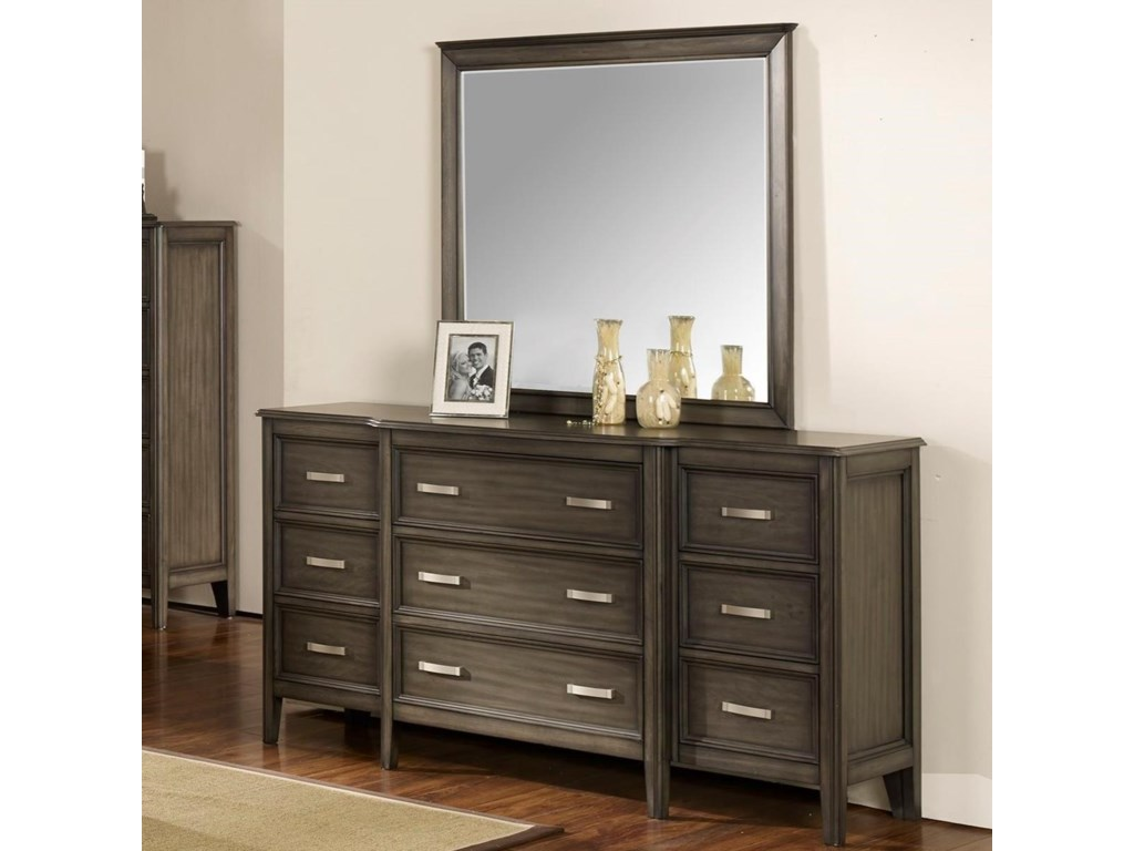 Richfield Smoke 9 Drawer Dresser With Velvet Lined Top Drawerirror By New Clic