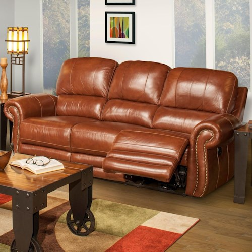 New Classic Rossi Traditional Power Reclining Sofa with Full Chaise Cushion