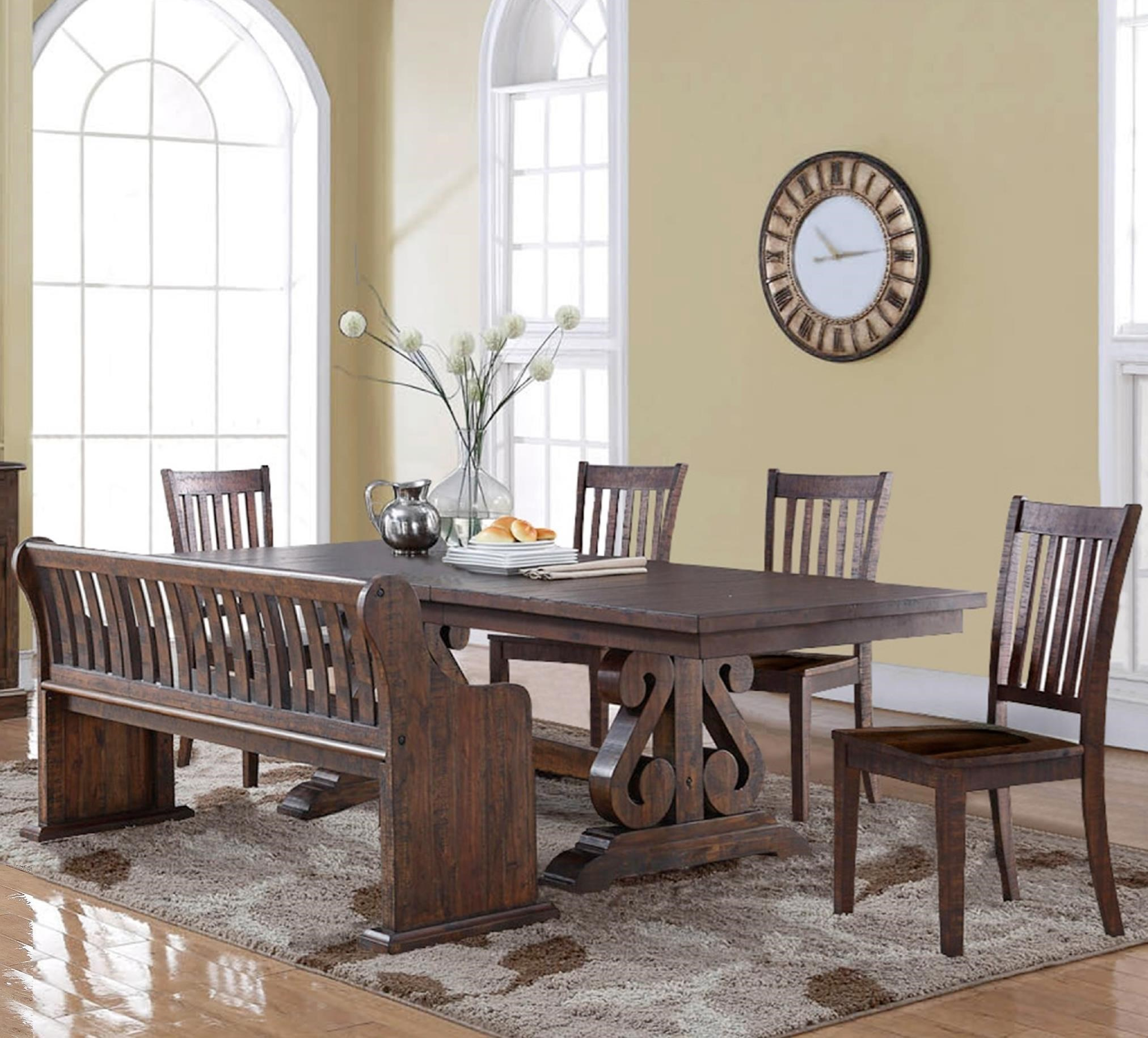 New Classic San Juan Six Piece Dining Table And Chair Set With Bench    Adcock Furniture   Table U0026 Chair Set With Bench