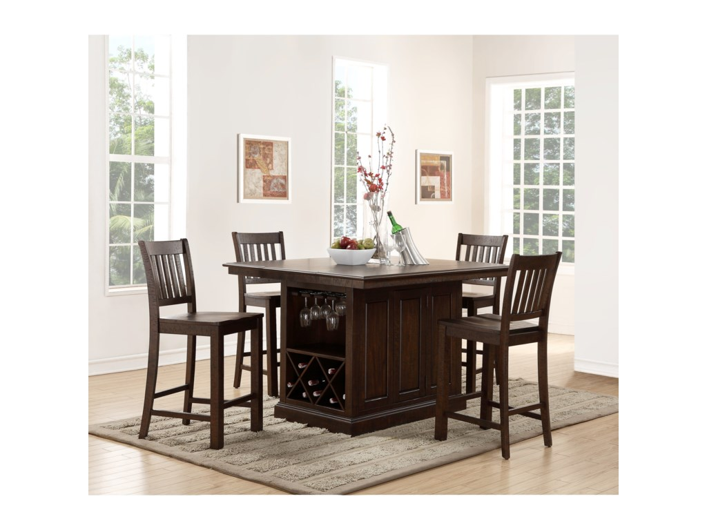 New Clic San Juan Counter Height Island And Chair Set With Built In Storage Dunk Bright Furniture Pub Table Stool Sets