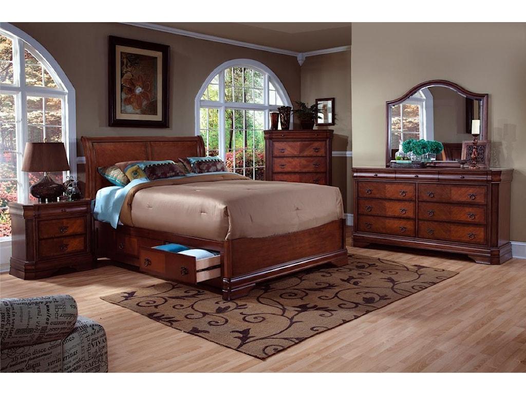 New Classic SheridanQueen Storage Bed, Dresser, Mirror & Nighsta