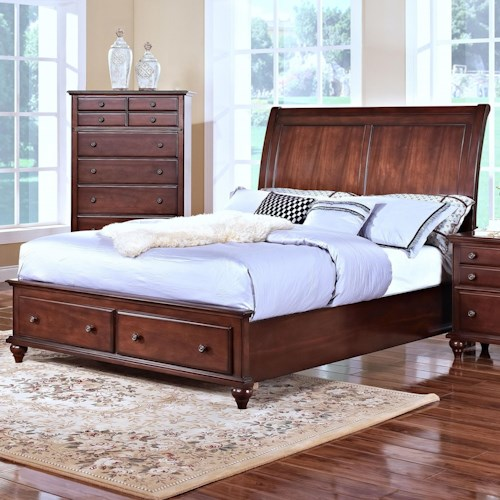 New Classic Spring Creek King Low Profile Storage Bed with Sleigh Style Headboard