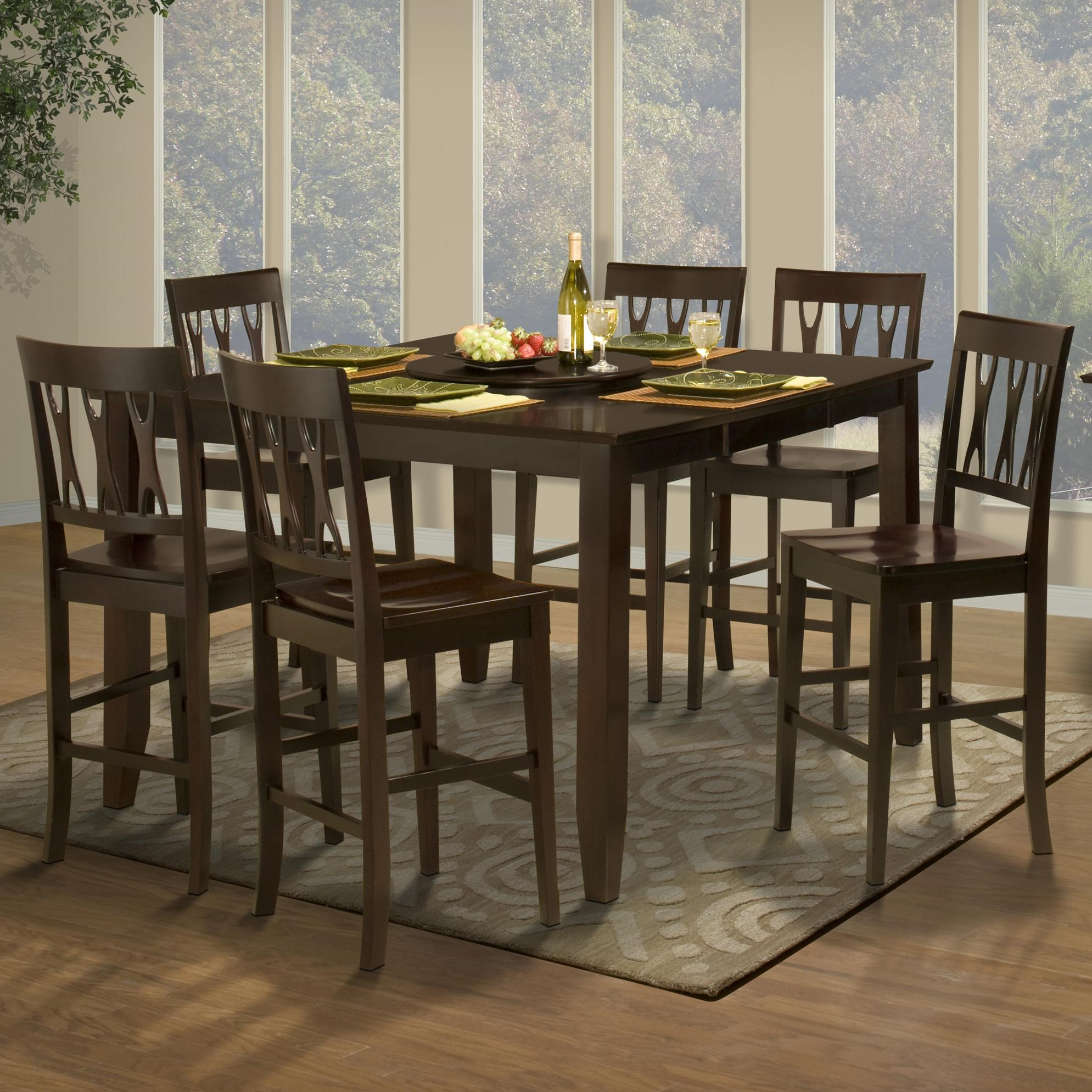 New Classic Style 19 7 Piece Counter Height Table And All Wood Abbie Chair  Set