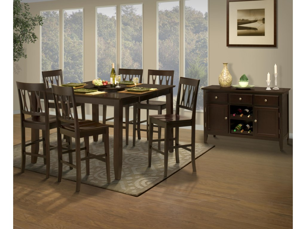 New Classic Style 19Counter Height Table and Abbie Chairs