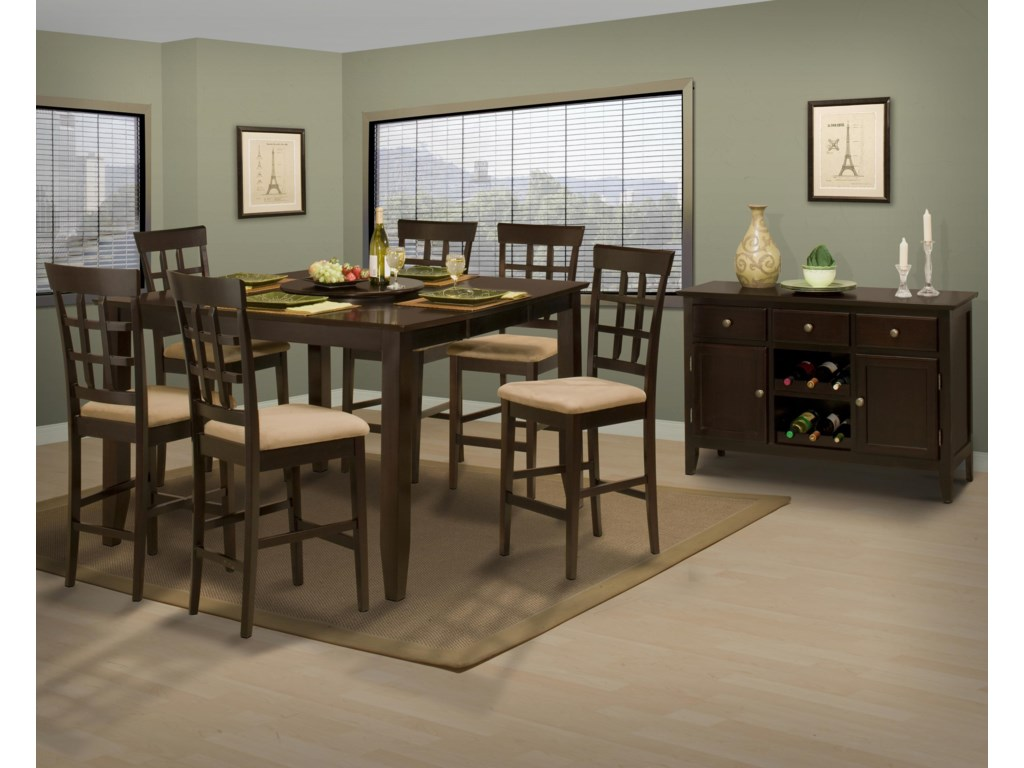 Shown with Counter Height Fret Back Side Chairs and Casual Dining Room Server