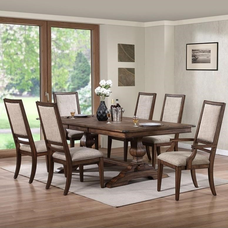 7 piece dining set with leaf steve silver new classic sutton manor piece dining set with trestle table