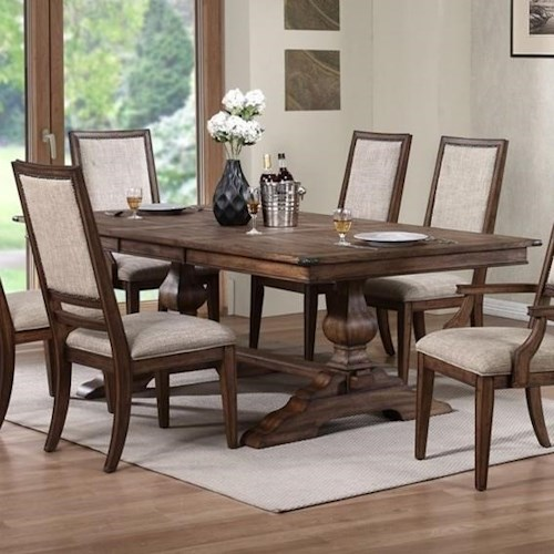 New Classic Sutton Manor Rectangular Dining Table With Trestle Base Dream Home Furniture