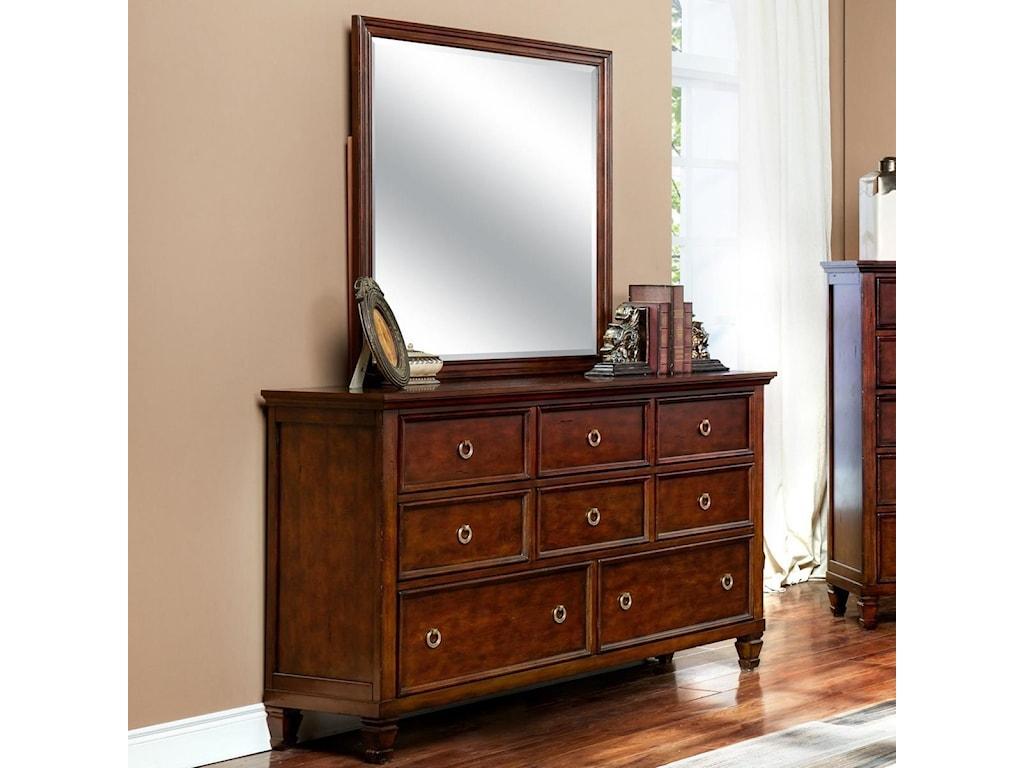 New Classic Tamarack 8 Drawer Dresser And Square Mirror Set Del