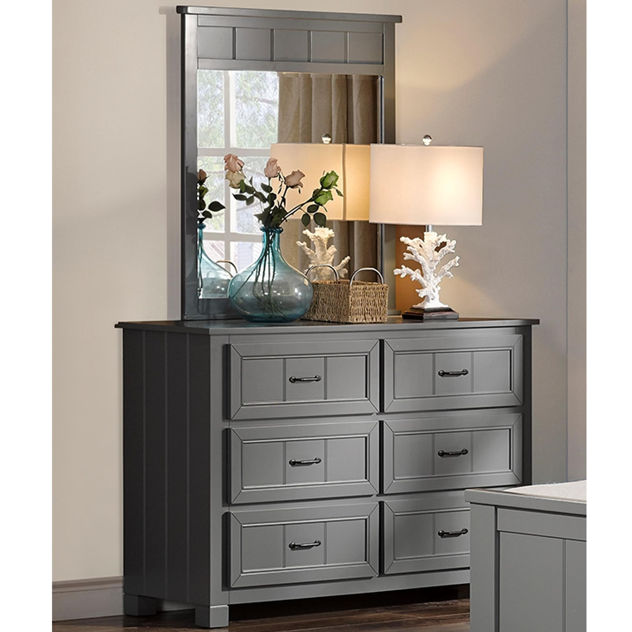 Taylor Youth Bedroom Casual 6 Drawer Dresser And Mirror By New Classic