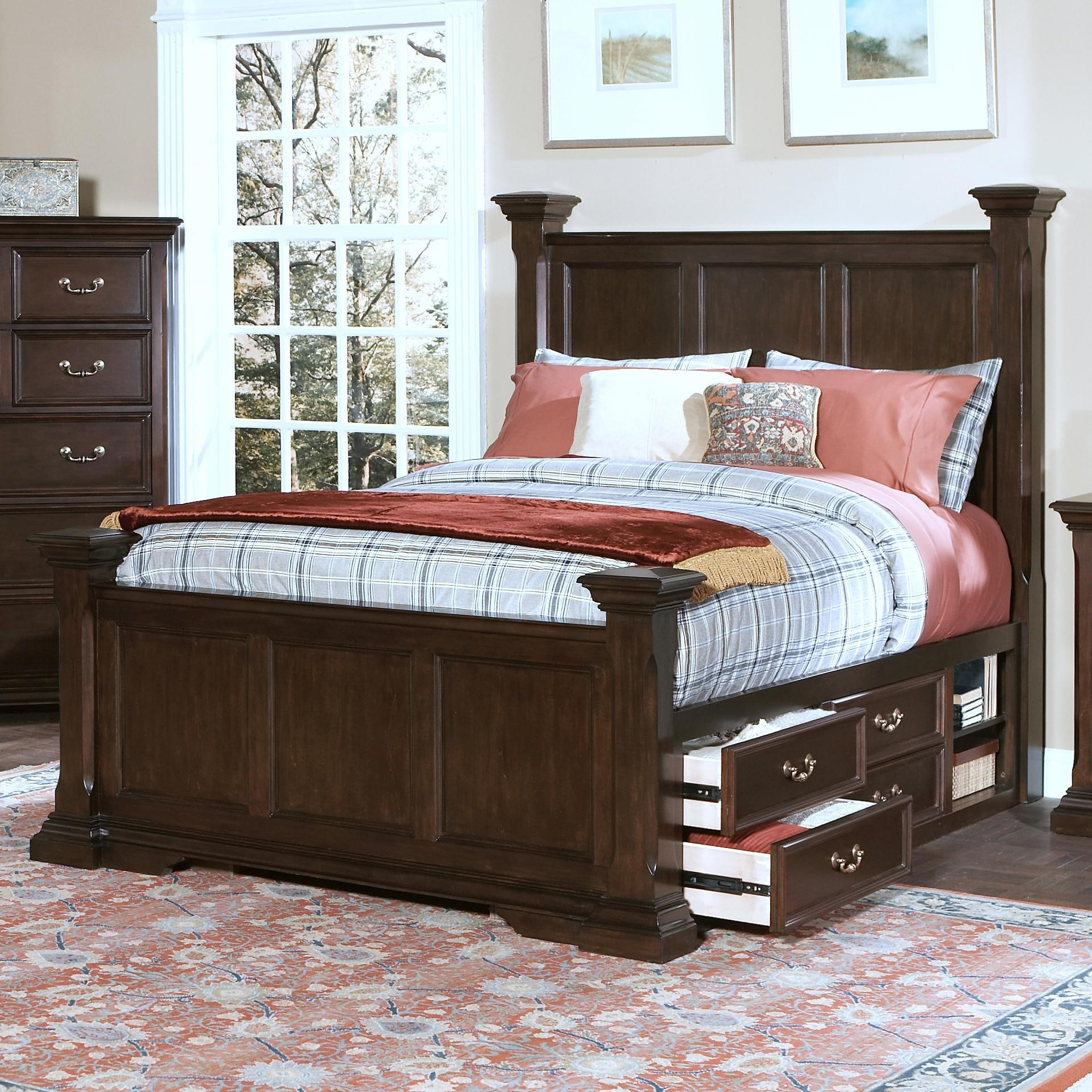 Good New Classic Timber City California King Captainu0027s Bed With Underbed Storage  And Decorative Posts
