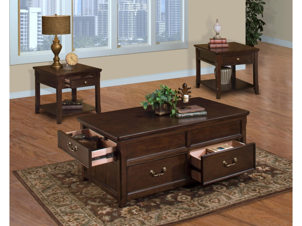 2 End Tables Shown with Lift Top Cocktail Table